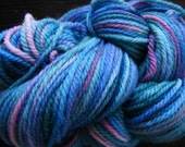 Handpainted Yarn Wool MYSTIC BLUES 220yds 3.5oz Worsted Weight  Aspenmoonarts Hand Painted