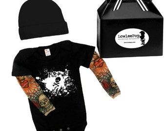 Skull Splatter Baby Gift Set - black onesie with tattoo sleeves, Hat and gift box