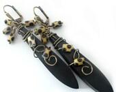Long Boho Earrings, Tiger Ebony Wood Drops, Leopard Print Glass Beads, Hand Wire Wrapped, Lightweight, Beaded Jewelry, Beaded Earrings, OOAK