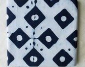 Diamond Dots Hand Dyed and Patterned Cotton Fabric/ indigo and White/ Half Yard