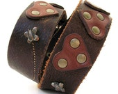 Leather Dog Collar with Chocolate Brown Hearts and Butterflies, Size L/XL, to fit a 20-23in Neck, Reclaimed Leather, Sustainable, OOAK