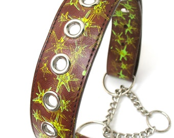 Rustic Green Star Martingale Leather Dog Collar with Silver Eyelets, Size L/XL to fit a 18-25in Neck, OOAK