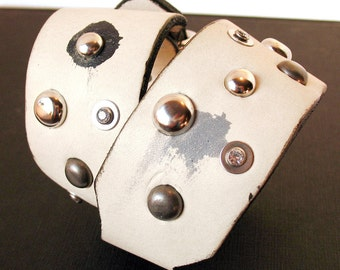 Cream Leather Dog Collar with Mixed Metal, Gems and Paint Splotches, Size M/L, to fit a 15-19in Neck, OOAK