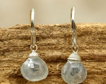 Moss agate drops faceted earrings with sterling silver hooks