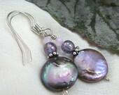 Lavender Coin Pearl Earrings ~ Iridescent Coin Pearl Earrings ~ Purple Coin Pearl Earrings ~ Pearl and Swarovski Crystal Dangle Earrings