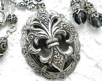 Evening in Paris - Black Diamond Fleur de Lis Antiqued Silver Necklace and Earring Set Victorian Style Necklace