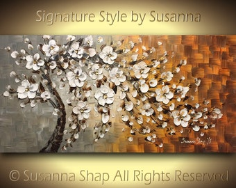 Tree Painting White Cherry Blossom Oil Painting ORIGINAL Tree Art White Flowers Wall Art Home Decor Palette Knife Texture- 48x24, by Susanna