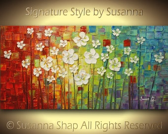 White Flowers Painting ORIGINAL Abstract Texured Artwork Modern Art Palette Knife Oil Colorful Multicolored by Susanna 48x24 Made to Order