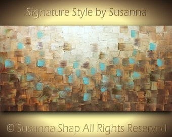 Original Large Abstract Painting on Canvas, Textured, Brown Blue Rust, Wall Art Home Decor, Modern Palette Knife Oil Painting 48x24 Susanna