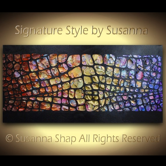 ORIGINAL Painting Abstract Modern Wall Art Palette Knife Oil Impasto Texture on Canvas Psychedelic Black MultiColored by Susanna Made2order
