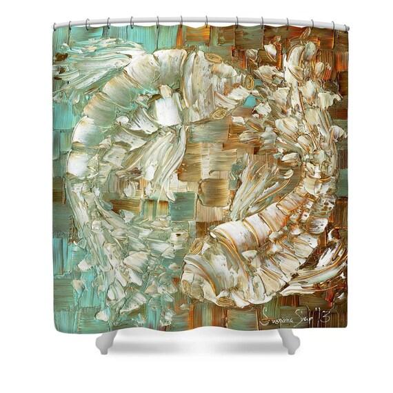 Koi fish shower curtain designer art ying yang by susannashap for Koi fish bathroom decorations