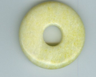 40mm Lemon Jasper PI Donut Pendant Bead 454