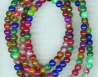 8mm Bright Jeweltone Glass Round Beads Long Strand