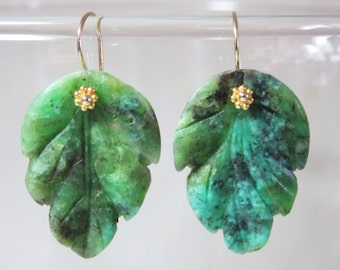 Natural New Carved Chrysoprase Leaf, and 14K/18K Solid Yellow Gold Earwires