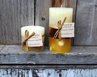 CUSTOM Set of Two to Three Scented Round Pillar Candles