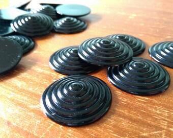 10 x Vintage Jumbo Black Bullseye Cabochons