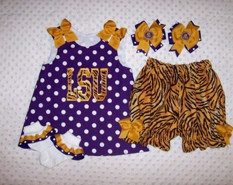 LSU Tigers Applique A-line Top or Dress with Tiger Bloomers Option - Football - Team Spirit - School Dress - Hair bow - Ruffle Socks