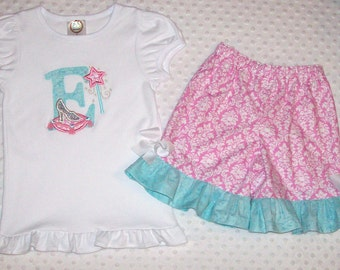 Glass Slipper Applique Glitter Monogram Initial Princess Wand Short or Long Sleeve Ruffle T-shirt and Shorts Capris OR Pants  Birthday Party
