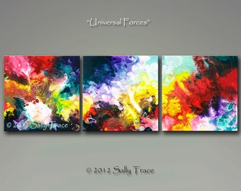 Abstract Art - Giclee on Canvas from my abstract triptych paintings UNIVERSAL FORCES 16x48, 18x54, 20x60