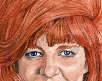 Original Watercolor Painting Portrait Art Cilla Black Swinging Cilla 4 x 6 inches