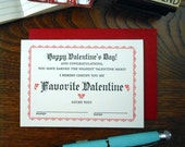 letterpress favorite valentine certificate greeting card birthday happy valentine's day card red & black on soft white paper
