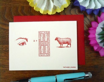 letterpress i adore you word puzzle greeting card soft pink paper with red ink
