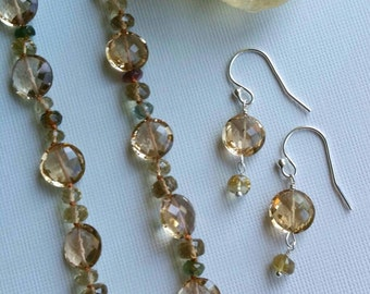 Champagne Tourmaline knotted Silk Necklace and Earrings