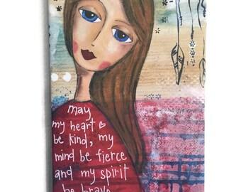 "Canvas Print, Kind Heart, Art Print, Mixed Media Artist, Art Canvas, Australian Artist 10x12"" Gallery Wrapped, kindness"