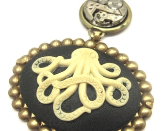 Steampunk Octopus  ... Steampunk Octopus Cameo and Ruby Jeweled Watch Movement One of a Kind Victorian Pendant