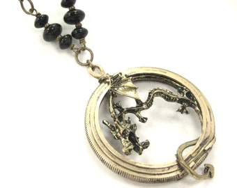 Onyx Dragon Pocket    ... Steampunk Dragon in a Pocket Watch Case One of a Kind Creation