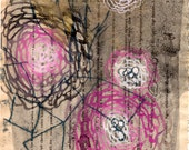 Pink and Grey Flowers Original Monoprint on French Book Page / chrysanthemum