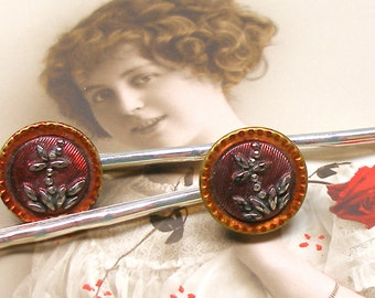 Lacy BUTTON hair pins, Victorian black glass with FLOWERS on silver bobby pins, hair grips.