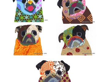 Collage Pug Note Cards - 5 Designs