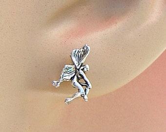 Earrings Fairy Sterling Silver Fantasy Ear Studs no. 3486
