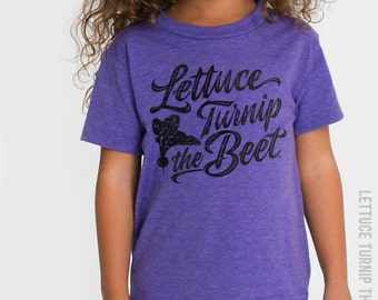 SALE lettuce turnip the beet ® trademark brand OFFICIAL SITE - purple track t shirt with cursive logo  - youth sizes