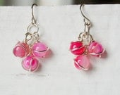 Silver and Pink Cluster Earrings, Wire Wrapped Jewelry
