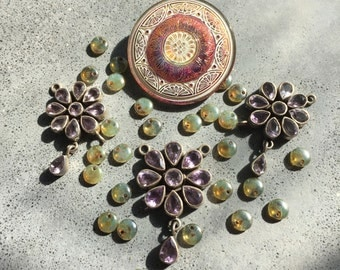Glass and sterling statement necklace beading jewelry supply by Lori Lochner designer jewelry and textile design artsan supply