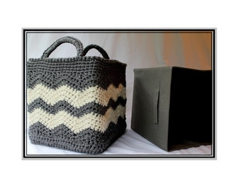 Crochet Chevron Basket with Handles or Drop Over Lace - Square Basket Cubicle Cover - Baby Bridal Shower Gift  No. 96