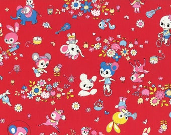 HALF YARD Honey Tune - Outdoor Playtime on RED 40568-30 - Bicycle, Garden, Music, Bunny, Deer, Cat, Squirrel, Hearts - Lecien - Japanese