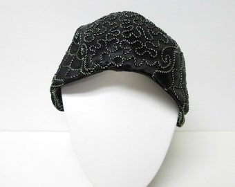 1940s black and silver cord embroidered hat with snood net