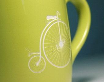 Penny Farthing Bicycle Mug - Green - ordinary bike coffee cup