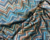 Designer Closeout FABRIC - Maggy London - Chevron Sweater Knit - Teal / Brown