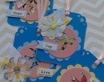 Beautiful Bird and Flower Embellished Tags Handmade Diecut Embellishments