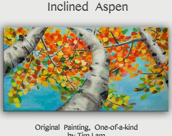 Happy Autumn Aspen,  Contemporary Huge Original acrylic Painting 48x24x1.5