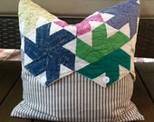 Vintage Quilt & Blue Ticking Pillow Cover Patchwork Pillow Cover - Multi Country Quilt Pillow Cover - Farmhouse 18""