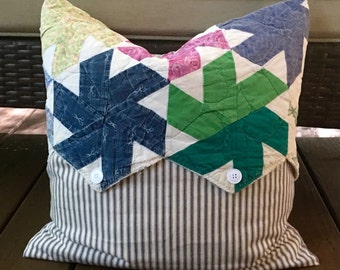 "Vintage Quilt & Blue Ticking Pillow Cover Patchwork Pillow Cover - Multi Country Quilt Pillow Cover - Farmhouse 18"""