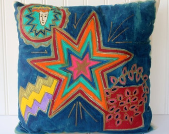 Clearance Sale - Painted Pillow - Vintage Art on Canvas - Original Art - 1990s - Blue Red Star - Retro Funky