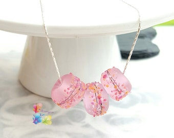 Silver Beaded Necklace, Lampwork Necklace Rose Petal Confetti, Pink Necklace, Sterling Silver Necklace, Lampwork Jewellery, Gift for Her,