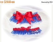 SALE 10% OFF Handmade Wedding Garter Set with Buffalo Bills fabric Bridal Keepsake Toss rrr 0