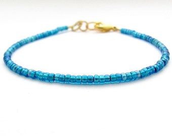 Ocean Blue AB Bracelet, Seed Bead Bracelet, Friendship Bracelet, Beaded Bracelet, Zen Yoga Bracelet, Ocean Blue Bridesmaid, Hawaiian Jewelry
